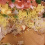 サンドイッチ状に重った具たくさんのお寿司でした